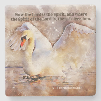 2 Corinthians 3:17 ...there is freedom Bible Verse Stone Coaster