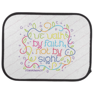 2 Corinthians 5:7 We walk by faith, not by sight. Floor Mat