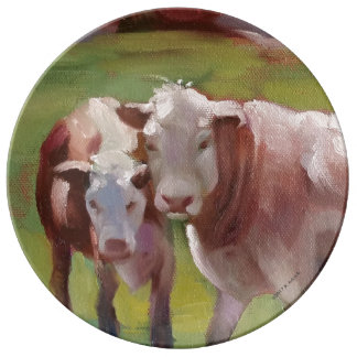 2 Cows in a Landscape Plate