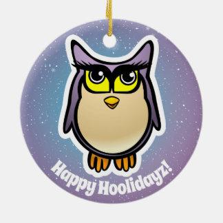 2 Cute Barn Owls Cartoons Christmas Ornament