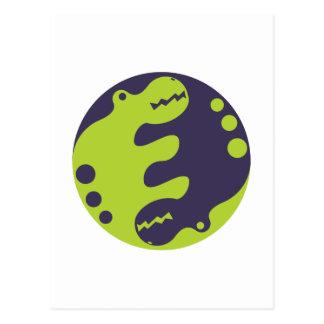 2 cute little dragons yin-yang postcard
