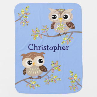 2 Cute Owls on Colorful Branches in Baby Blue Baby Pramblankets