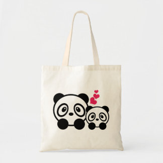 2 Cute Pandas Tote Bag