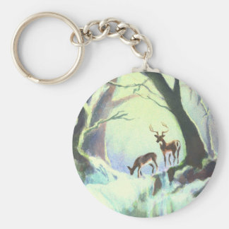 2 DEER by SHARON SHARPE Basic Round Button Key Ring