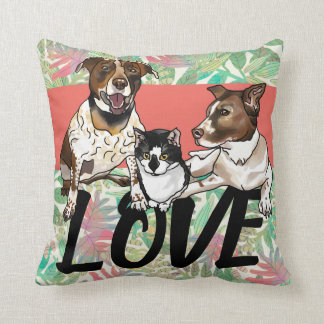 2 Dogs and a Cat Home is Where the Paws are Cushion