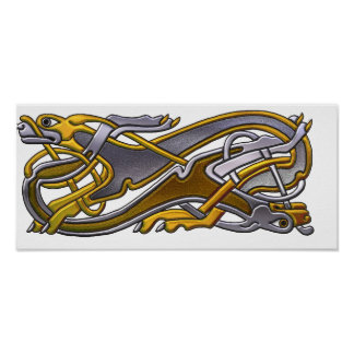 2 Dogs Celtic knot work Poster