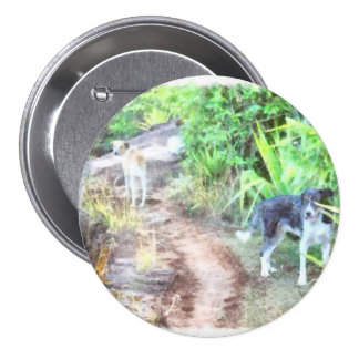 2 dogs on a path 7.5 cm round badge