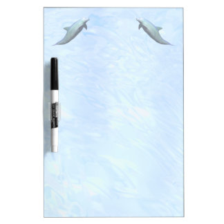 2 Dolphins on Watery Background Dry Erase Board