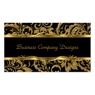 2 Elegant Classy Gold Black Damask Embossed Look Double-Sided Standard Business Cards (Pack Of 100)