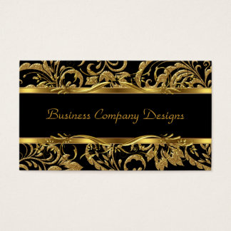 2 Elegant Classy Gold Black Damask Embossed Look Business Card