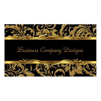 2 Elegant Classy Gold Black Damask Embossed Look Pack Of Standard Business Cards