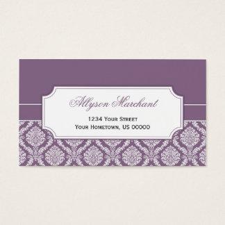 #2 Elegant Vintage Dusty Purple White Damask Business Card