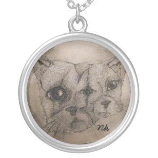 2 faced cat round pendant necklace