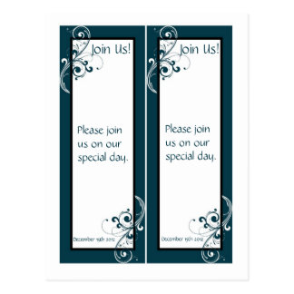 2 Filigree Navy/White Wedding Bookmarks Postcard