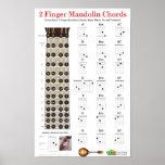 2 Finger Mandolin Chords and Fretboard Poster