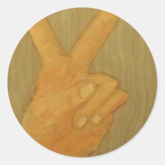 2 fingers round sticker