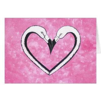 2 Flamingo kiss heart Greeting Card