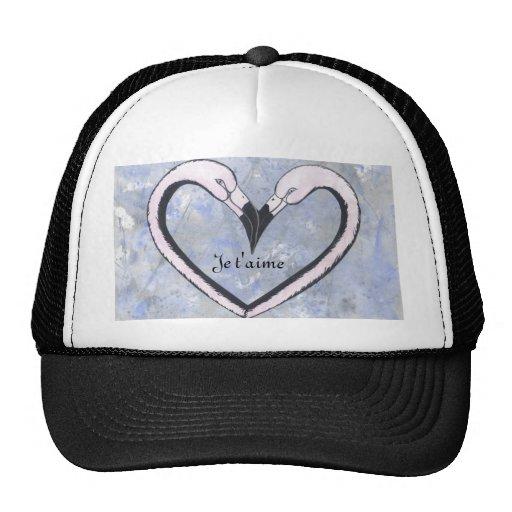 2 Flamingo kiss heart Je t'aime, Mesh Hats