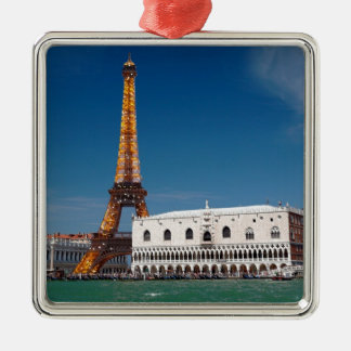 2 for 1 Venice and Paris - Mixed up World Silver-Colored Square Decoration