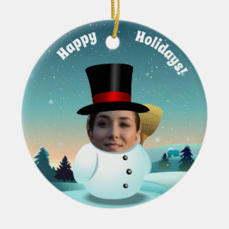 2 Funny Snowmen Customized With Your Own Photos Christmas Ornament