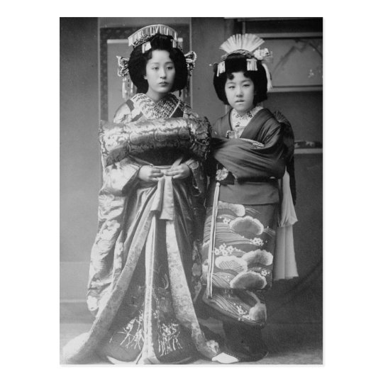2 Geisha Girls Vintage Japanese Photo Postcard