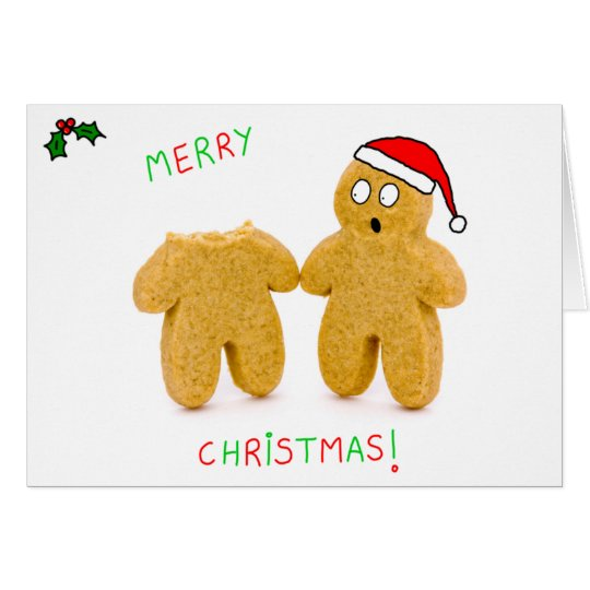 2 gingerbread men character funny christmas card