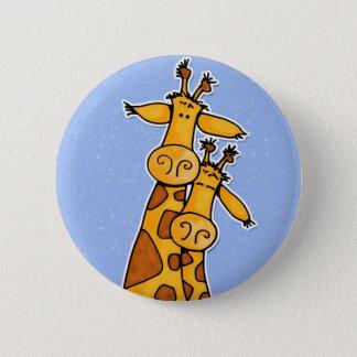 2 giraffes 6 cm round badge