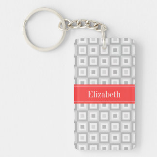 2 Gray Wht Concentric Square Coral Name Monogram Double-Sided Rectangular Acrylic Key Ring