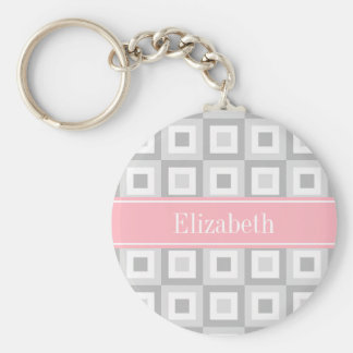 2 Gray Wht Concentric Square Pink Name Monogram Basic Round Button Key Ring