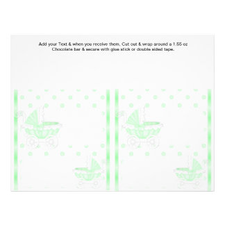 2 Green Baby Shower Favor Custom Candy Bar Wrapper 21.5 Cm X 28 Cm Flyer