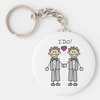 2 Grooms Basic Round Button Key Ring