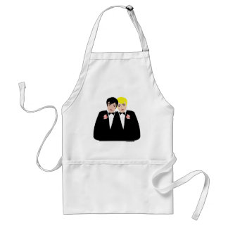 2 Grooms (Blonde and Black Hair) Adult Apron