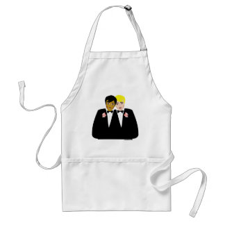 2 Grooms (Ethnic and Blonde) Adult Apron