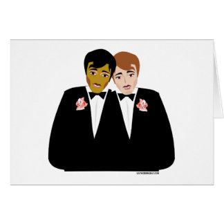 2 Grooms (Ethnic and Brown-Haired) Card