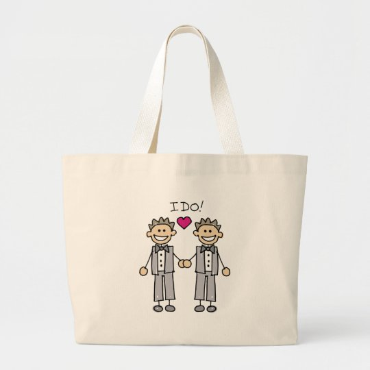 2 Grooms Large Tote Bag