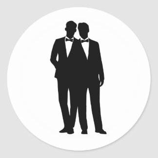 2 Grooms Silhouette Gay Couple Wedding Stickers