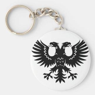 2 headed eagle basic round button key ring