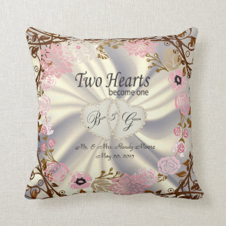 2 Hearts Become One Wedding Vintage Flower Wreath Cushion