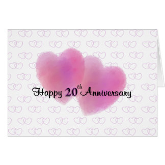 2 Hearts Happy 20th Anniversary Greeting Card