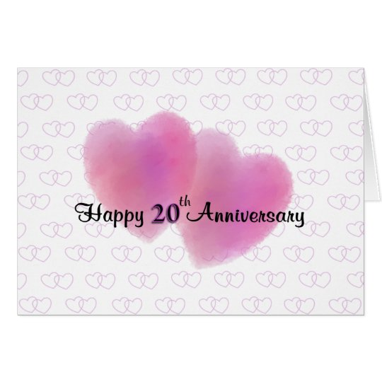 2 Hearts Happy 20th Anniversary Card