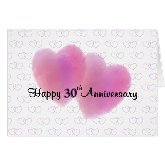 2 Hearts Happy 30th Anniversary Card