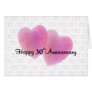 2 Hearts Happy 30th Anniversary Greeting Card