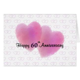 2 Hearts Happy 60th Anniversary Greeting Card