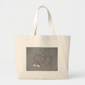 2 Hearts in the sand with shells Tote Bag
