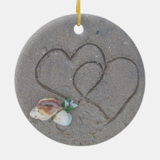 2 Hearts  in the sand with shells Christmas Ornament