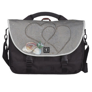 2 Hearts in the sand with shells Laptop Commuter Bag