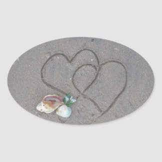 2 Hearts  in the sand with shells Oval Sticker