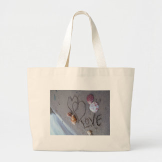 2 Hearts  in the sand with shells with Love Canvas Bags