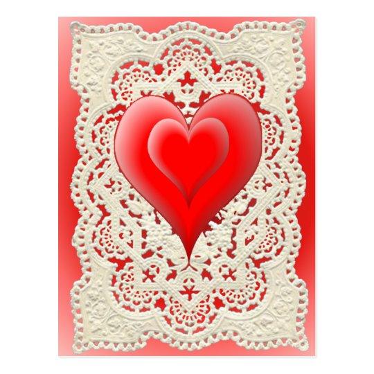 2 HEARTS & LACE by SHARON SHARPE Postcard