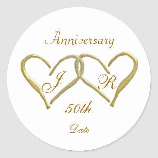 2 hearts Monogram Golden Wedding Anniversary Round Sticker